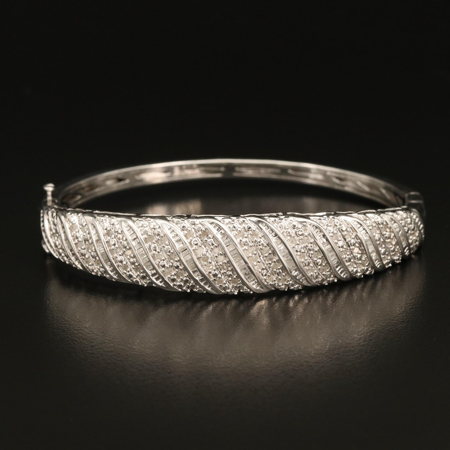 Sterling Diamond Wave Hinged Bracelet