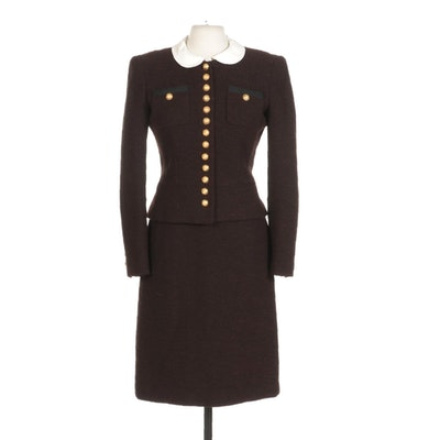 Rena Lange Maroon Two Piece Skirt Suit With Gold Button Details