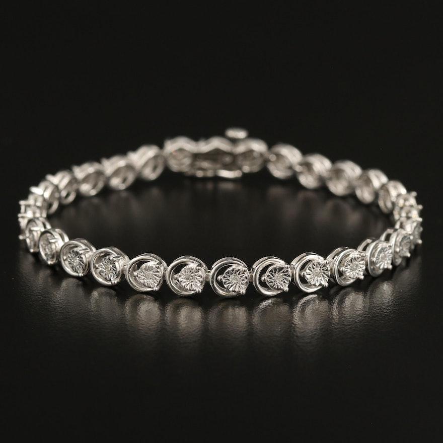 Sterling Illusion Set Diamond Bracelet