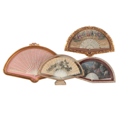 Framed Folding Hand Fans, Early to Mid 20th Century