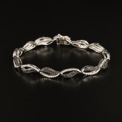 Diamond Bracelet with Wave Motif