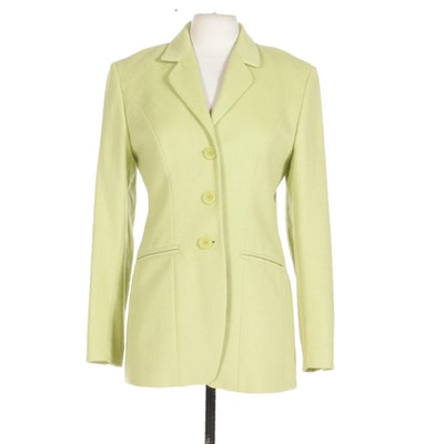 Saks Fifth Avenue Collection Chartreuse Angora Blend Jacket
