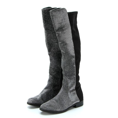 Unisa Knee High Boots in Glitter and Stretch Fabric