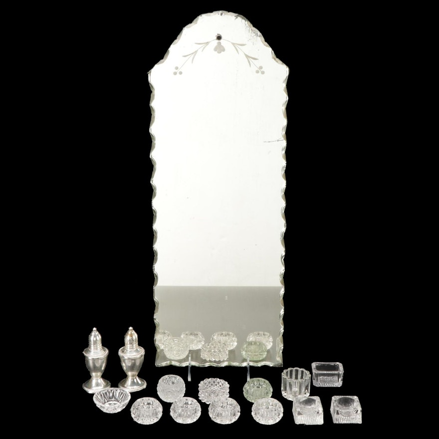 Duchin Sterling Silver Shakers, Glass Salt Cellars, and Mirror