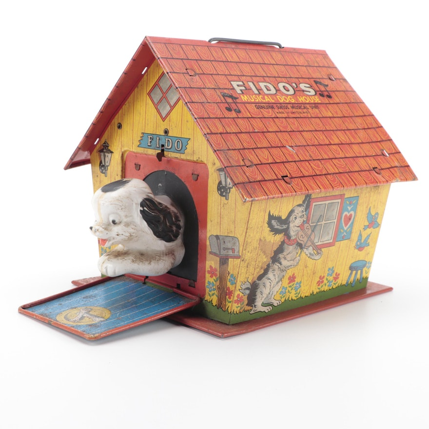 "Ohio Art ""Fido's Musical Dog House"" Tin Litho Swiss Musical Unit, Mid-20th C."