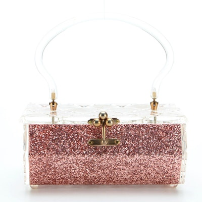 Charles S. Kahn Inc. of Miami Pink Glitter and Translucent Lucite Box Purse