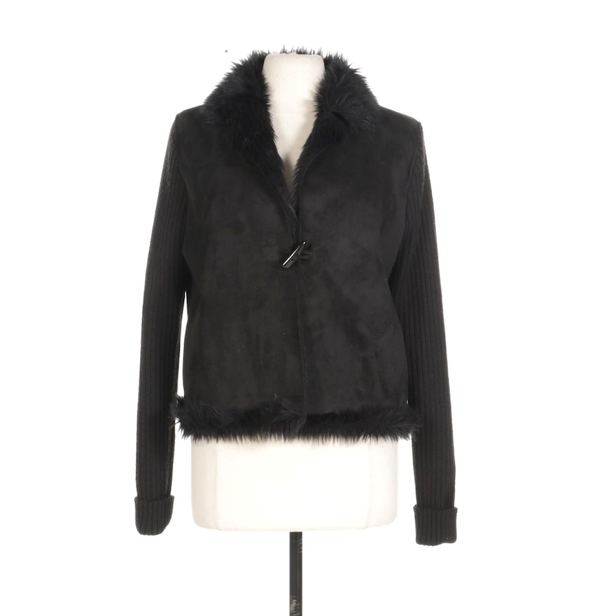 Montanaco Faux Suede Jacket With Faux Fur Lining and Knitted Arms