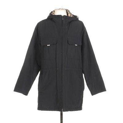 Burberry London Black Zippered Rain Jacket With Nova Check Lining