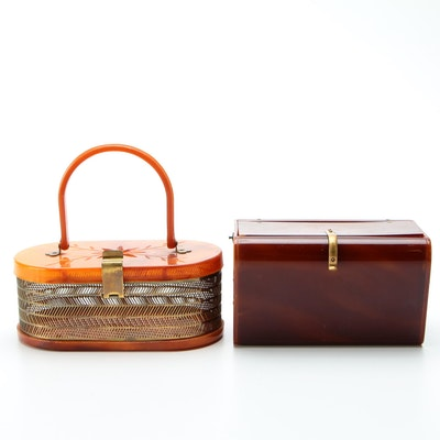 Wilardy and MW Handbags Metal and Marbleized Top Handle Purses