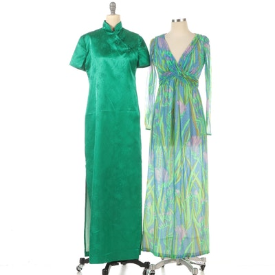 Robert-David Morton Maxi Dress with Green Floral Cheongsam Dress