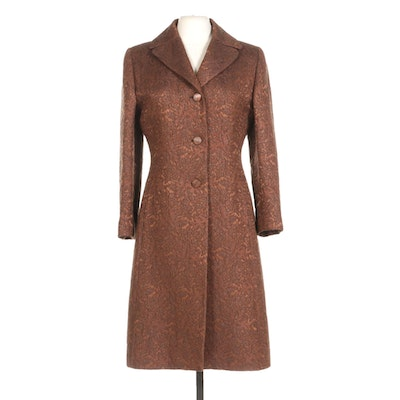 Brown Brocade Full Length Coat With Bemberg Cupro Lining