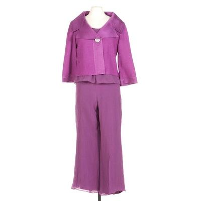 St. John Two Piece Purple Silk Blend Set and Matching Knit Jacket