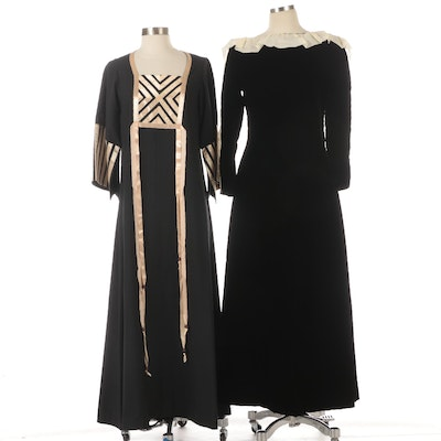 Pierre Cardin Velvet and Ruffled Accent Dress with Aiko Ribbon Embellished Dress