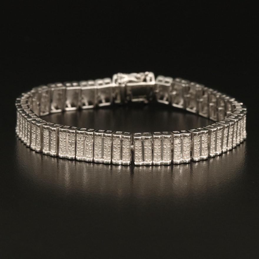 Sterling Diamond Multi-Row Bracelet
