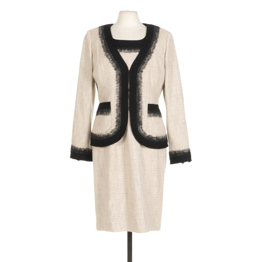 St John Couture Tweed Sheath Dress Suit With Wool Trim