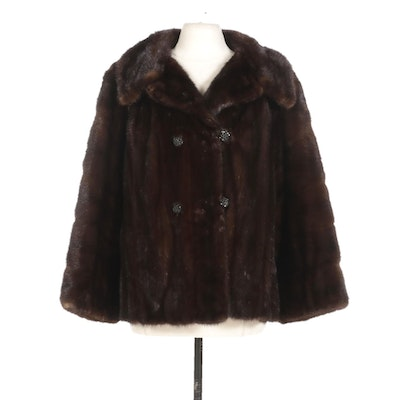 Mahogany Mink Fur Double-Breasted Jacket with Wide Notched Collar