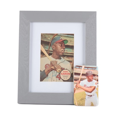 1967 Hank Aaron #15 Topps Insert Poster and 1971 Super Card
