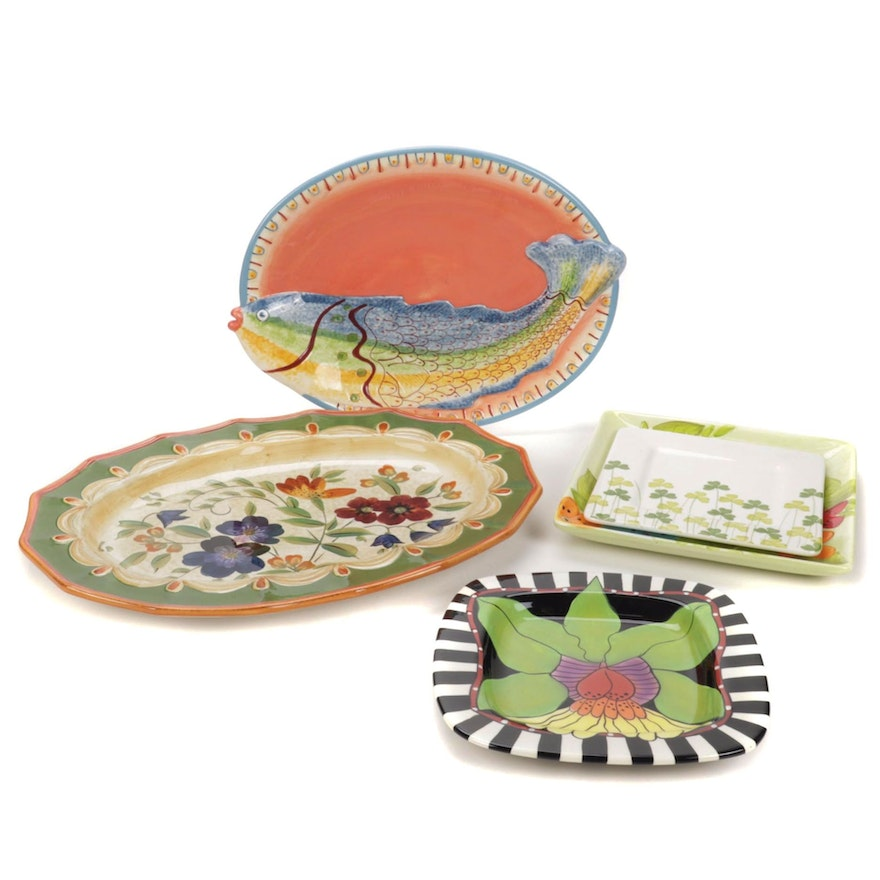 Farval and Other Hand-Painted Contemporary Ceramic Platters