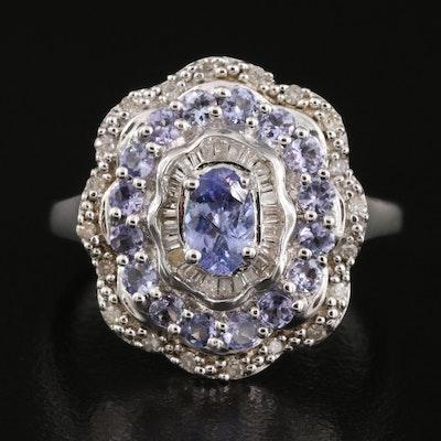 Sterling Tanzanite and Diamond Scalloped Edge Ring