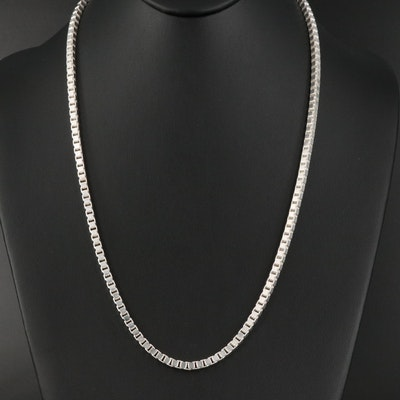 Italian Sterling Silver Box Chain Necklace