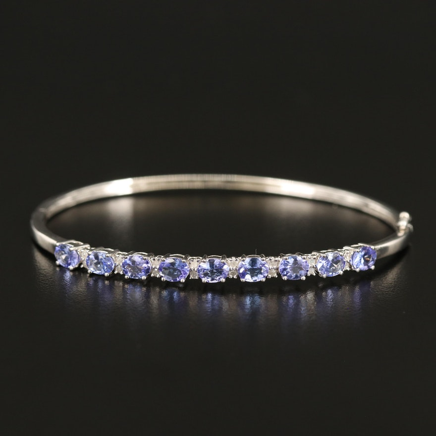 Sterling Tanzanite and Diamond Oval Hinged Bangle