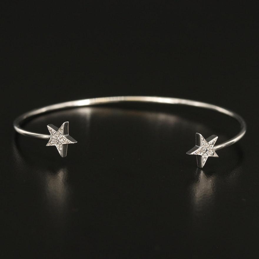 Sterling Diamond Star Cuff