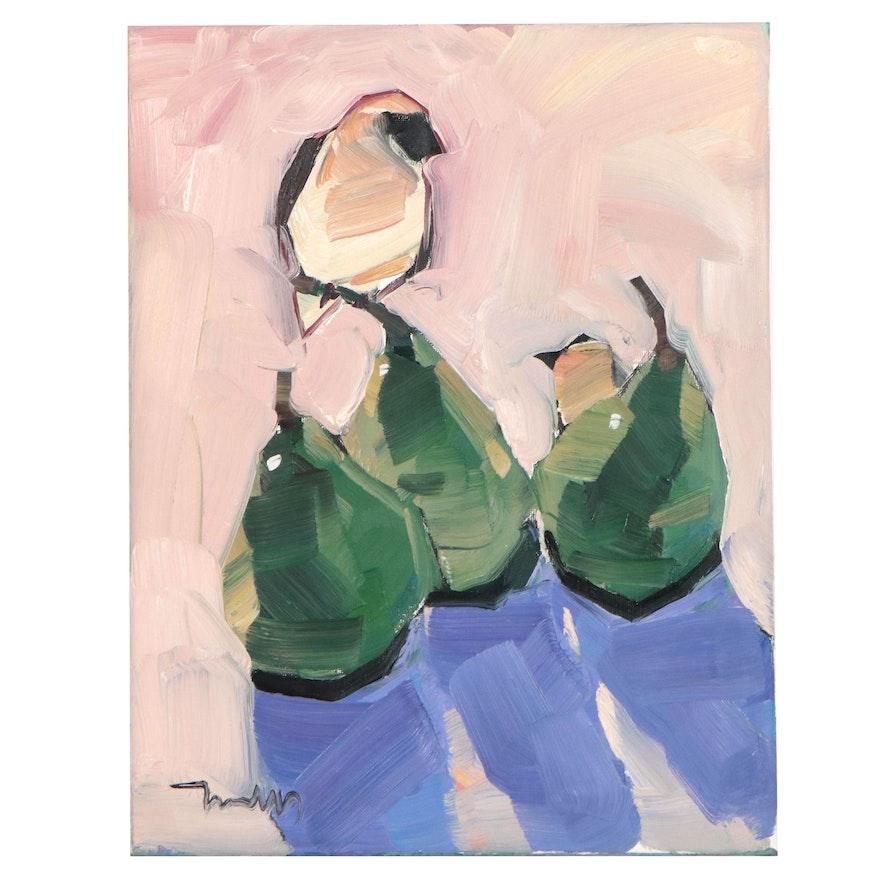 "Jose Trujillo Oil Painting ""Green Pears,"" 2021"