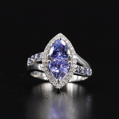 Sterling Tanzanite and Diamond Navette Ring