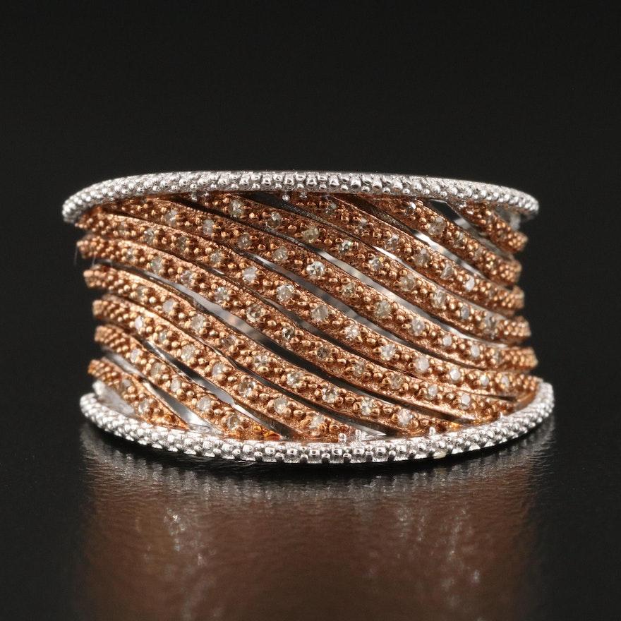 Sterling Silver Diamond Saddle Ring