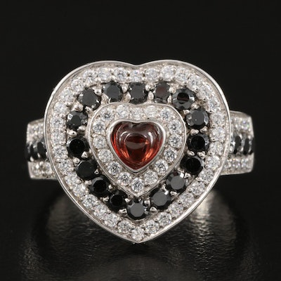 Garnet and Cubic Zirconia Sterling Heart Ring