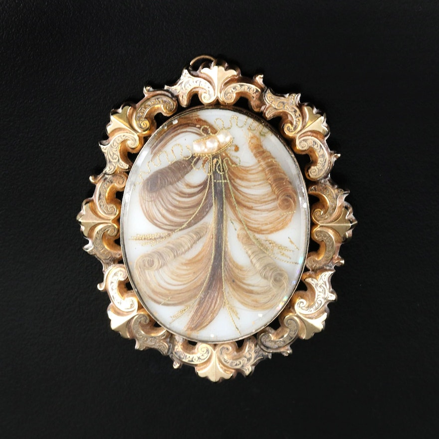 Victorian Scrollwork Hair Converter Brooch with Faux Pearl