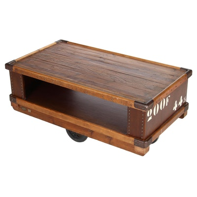 Arhaus Two-Tier Recycled Wood Rolling Coffee Table