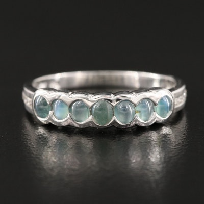 Cats Eye Alexandrite and White Zircon Sterling Silver Band