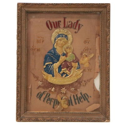 """Handmade """"Our Lady of Perpetual Help"""" Embellished Needlework Panel"""
