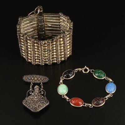 Turkish Cannetille Bracelet, Perfume Brooch, Scarab Bracelet, Coin Pendant