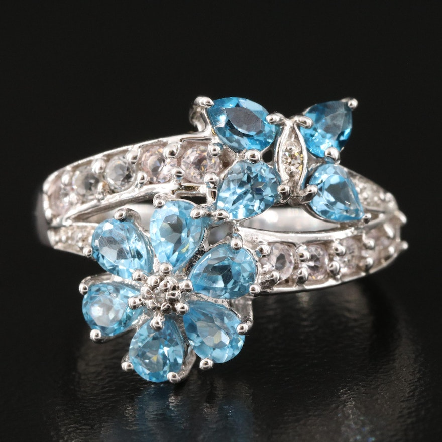 14K Swiss BlueTopaz and Diamond Butterfly and Flower Bypass Ring