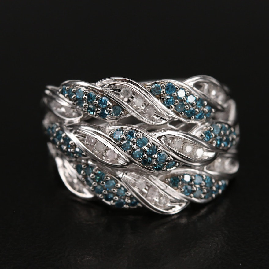 Sterling Diamond Triple Row Crossover Band