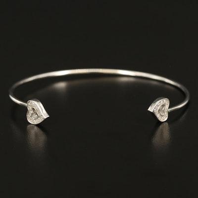 Sterling Diamond Heart Cuff