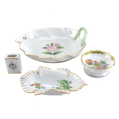 Herend and Other Porcelain Floral and Leaf Shaped Tableware