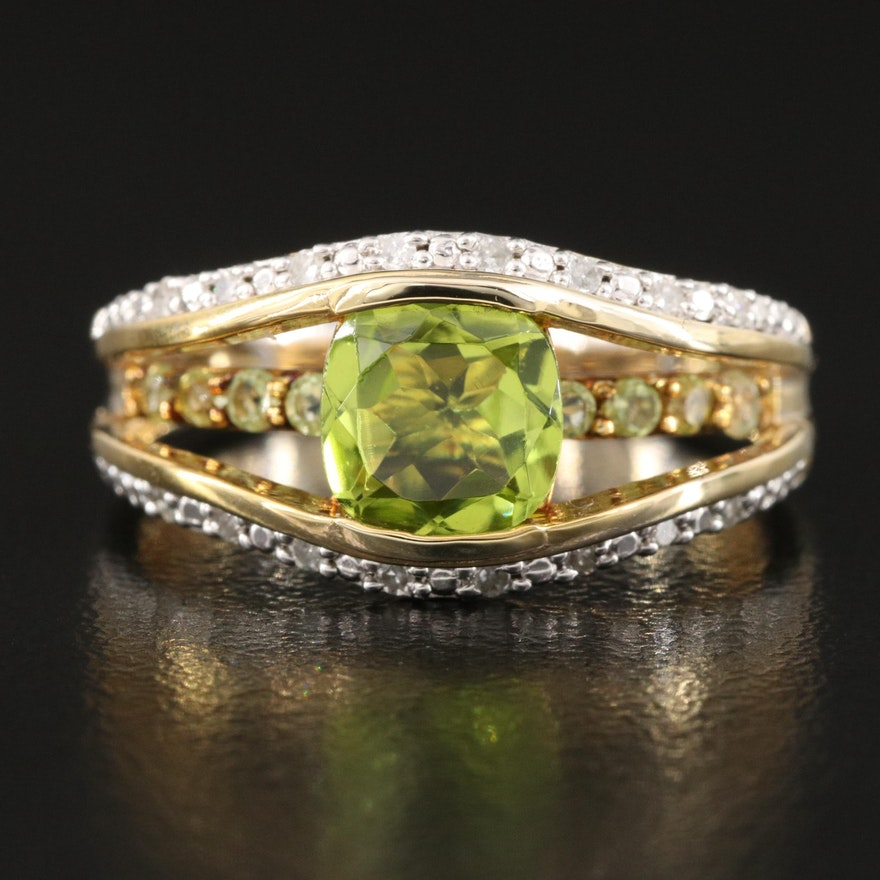 Sterling Peridot and Diamond Accented Openwork Ring