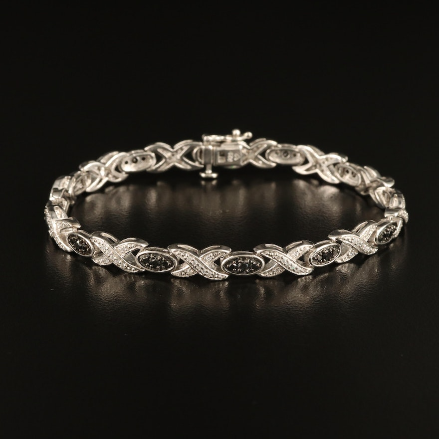 """Sterling Black Diamond and Cubic Zirconia """"X and O"""" Bracelet"""