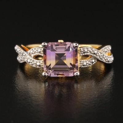 Ametrine and Diamond Ring