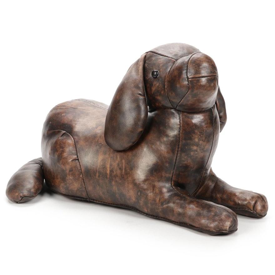Brown Leather Dog Stuffed Doorstop or Footstool