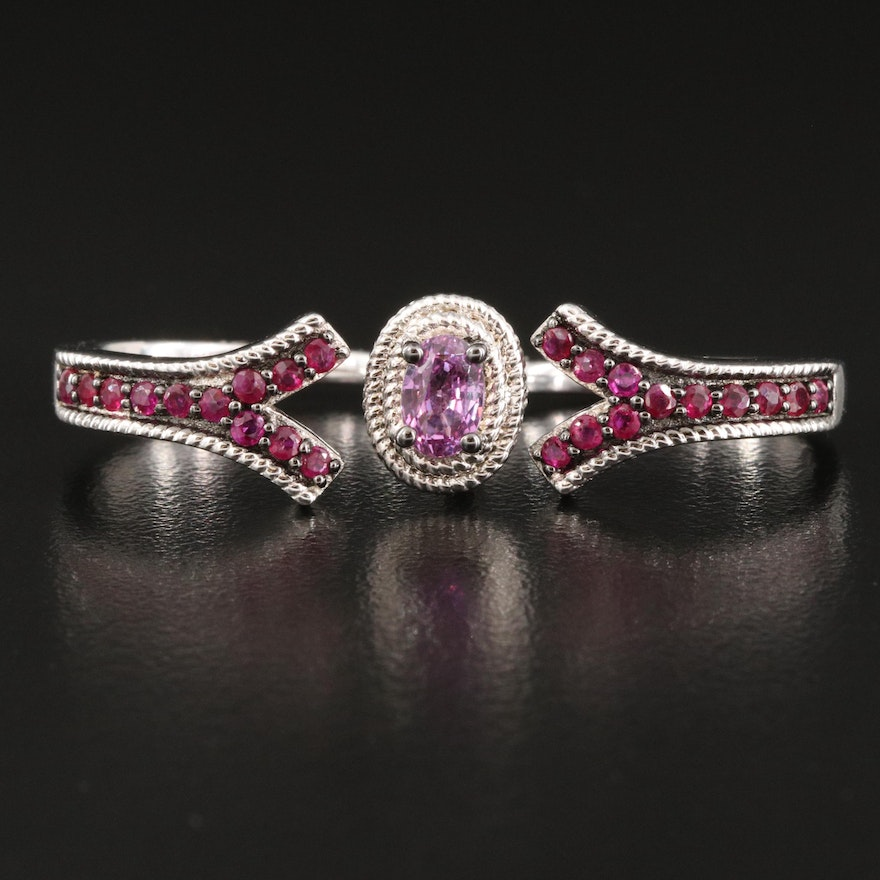 Sapphire and Ruby Between The Finger Sterling Ring