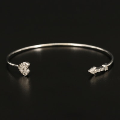 Sterling Diamond Arrow and Heart Cuff
