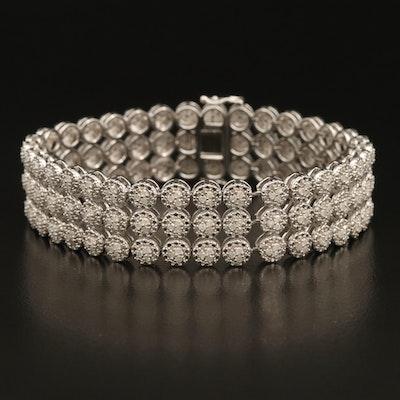 Sterling 3.00 CTW Diamond Triple-Row Cluster Illusion Set Bracelet