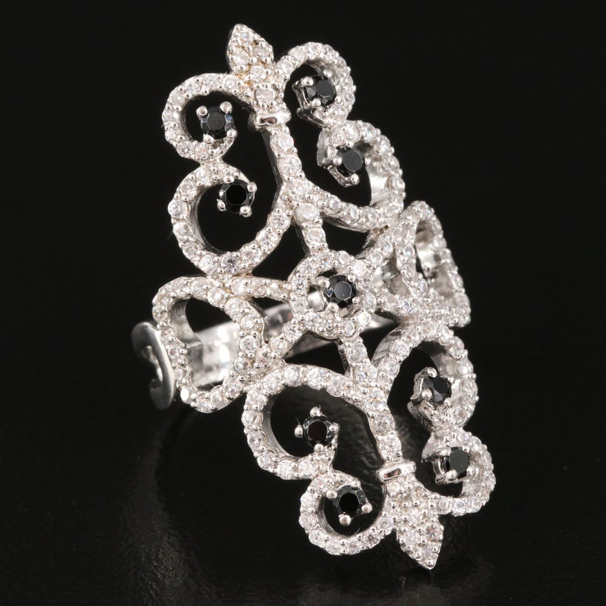 Sterling Spinel and Cubic Zirconia Scroll Design Pointer Ring