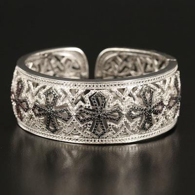 Sterling Diamond Cross Openwork Hinged Cuff