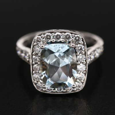 Sterling Aquamarine and Cubic Zirconia Ring
