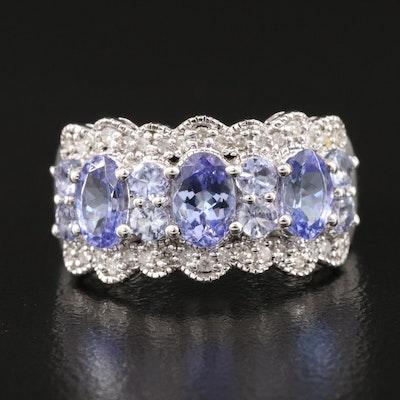 Sterling Silver Tanzanite and Diamond Ring